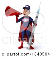 Clipart Of A 3d Young White Male Super Hero Mechanic In Red And Dark Blue Holding A Giant Vaccine Syringe And Announcing With A Megaphone Royalty Free Illustration