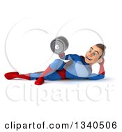 Clipart Of A 3d Young Brunette White Male Super Hero In A Blue And Red Suit Working Out Resting On His Side And Doing Bicep Curls With Dumbbells Royalty Free Illustration