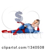 Clipart Of A 3d Young Brunette White Male Super Hero In A Blue And Red Suit Holding A Dollar Symbol And Resting On His Side Royalty Free Illustration