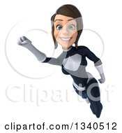 Clipart Of A 3d Brunette White Female Super Hero In A Black And White Suit Flying Royalty Free Illustration by Julos