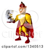 Clipart Of A 3d Muscular Male Yellow And Red Super Hero Holding A Euro Symbol Facing Slightly Left Royalty Free Illustration
