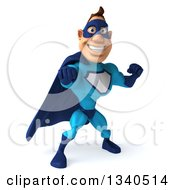Clipart Of A 3d Caucasian Blue Male Super Hero Punching Royalty Free Illustration