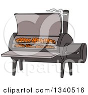 Clipart Of A Cartoon Bbq Smoker With Ribs And Steaks Royalty Free Vector Illustration by LaffToon