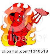 Cartoon Grinning Red Pig Devil Over Flames Holding Bbq Ribs On A Trident