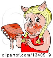 Cartoon Blond Female Pig Holding Saucy Ribs