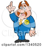 Cartoon Caucasian Politician With Horned Hair Holding Up A Finger