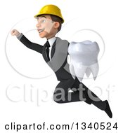 Clipart Of A 3d Young White Male Architect Holding A Tooth And Flying Up To The Left Royalty Free Illustration