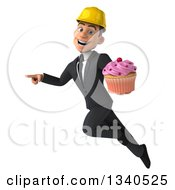 Clipart Of A 3d Young White Male Architect Holding A Pink Frosted Cupcake Pointing And Flying Royalty Free Illustration