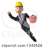 Clipart Of A 3d Young White Male Architect Holding A Pink Frosted Cupcake And Flying Royalty Free Illustration