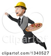 Clipart Of A 3d Young White Male Architect Holding A Pizza And Flying Up To The Left Royalty Free Illustration