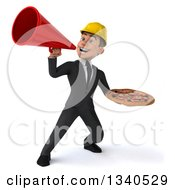 Clipart Of A 3d Young White Male Architect Holding A Pizza And Announcing With A Megaphone Royalty Free Illustration