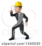 Clipart Of A 3d Young White Male Architect Facing Left Searching With A Magnifying Glass Royalty Free Illustration