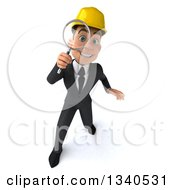 Clipart Of A 3d Young White Male Architect Looking Up Searching With A Magnifying Glass Royalty Free Illustration