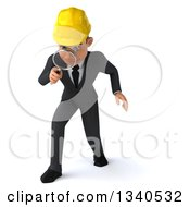 Clipart Of A 3d Young White Male Architect Looking Down Searching With A Magnifying Glass Royalty Free Illustration