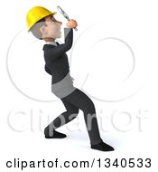 Clipart Of A 3d Young White Male Architect Facing Right Looking Up Searching With A Magnifying Glass Royalty Free Illustration