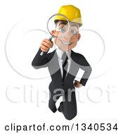 Clipart Of A 3d Young White Male Architect Flying And Searching With A Magnifying Glass Royalty Free Illustration