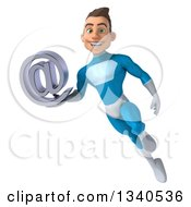 Clipart Of A 3d Young White Male Super Hero In A Light Blue Suit Holding An Email Arobase At Symbol And Flying Royalty Free Illustration