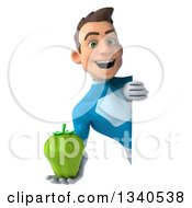 Clipart Of A 3d Young White Male Super Hero In A Light Blue Suit Holding A Green Bell Pepper Around A Sign Royalty Free Illustration