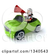 Clipart Of A 3d Young Male Roman Legionary Soldier Announcing With A Megaphone And Driving A Green Convertible Car 2 Royalty Free Illustration