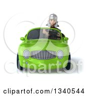 3d Young Male Roman Legionary Soldier Driving A Green Convertible Car