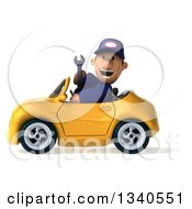 Clipart Of A 3d Short White Male Auto Mechanic Holding A Wrench And Driving A Yellow Convertible Car Royalty Free Illustration
