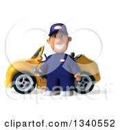 Clipart Of A 3d Short White Male Auto Mechanic Holding A Wrench By A Yellow Convertible Car Royalty Free Illustration by Julos