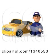 Clipart Of A 3d Short White Male Auto Mechanic Presenting A Yellow Convertible Car Royalty Free Illustration