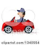 Clipart Of A 3d Short White Male Auto Mechanic Driving A Red Convertible Car Royalty Free Illustration by Julos
