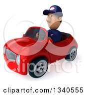Clipart Of A 3d Short White Male Auto Mechanic Driving A Red Convertible Car Royalty Free Illustration