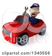 Clipart Of A 3d Short White Male Auto Mechanic Holding A Wrench And Driving A Red Convertible Car Royalty Free Illustration