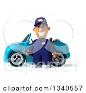 Clipart Of A 3d Short White Male Auto Mechanic Holding A Wrench By A Blue Convertible Car Royalty Free Illustration by Julos