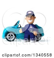 Clipart Of A 3d Short White Male Auto Mechanic Presenting A Blue Convertible Car Royalty Free Illustration by Julos