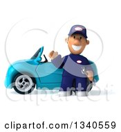 Clipart Of A 3d Short White Male Auto Mechanic Waving By A Blue Convertible Car Royalty Free Illustration by Julos