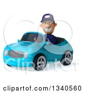Clipart Of A 3d Short White Male Auto Mechanic Driving A Blue Convertible Car Royalty Free Illustration by Julos