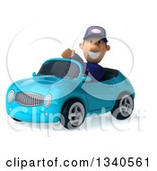 Clipart Of A 3d Short White Male Auto Mechanic Waving And Driving A Blue Convertible Car Royalty Free Illustration by Julos