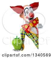 Clipart Of A 3d Funky Clown Holding Up A Green Bell Pepper And Looking Around A Sign Royalty Free Illustration