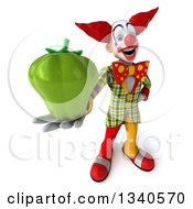 Clipart Of A 3d Funky Clown Holding Up A Green Bell Pepper Royalty Free Illustration