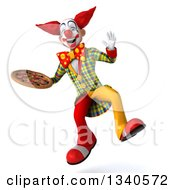 Clipart Of A 3d Funky Clown Holding A Pizza And Jumping Royalty Free Illustration
