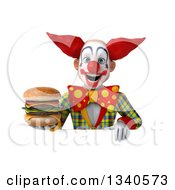 Clipart Of A 3d Funky Clown Holding A Double Cheeseburger Over A Sign Royalty Free Illustration