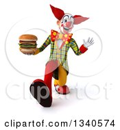 Clipart Of A 3d Funky Clown Holding A Double Cheeseburger Waving And Speed Walking Royalty Free Illustration