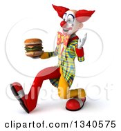 Clipart Of A 3d Funky Clown Holding A Double Cheeseburger Waving And Speed Walking To The Left Royalty Free Illustration