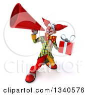 Clipart Of A 3d Funky Clown Holding A Gift And Announcing Upwards With A Megaphone Royalty Free Illustration