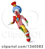 Clipart Of A 3d Colorful Clown Flying And Presenting Royalty Free Illustration