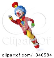 Clipart Of A 3d Colorful Clown Flying Royalty Free Illustration