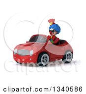 Clipart Of A 3d Colorful Clown Wearing Sunglasses And Driving A Red Convertible Car Royalty Free Illustration