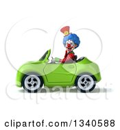 Clipart Of A 3d Colorful Clown Driving A Green Convertible Car Royalty Free Illustration