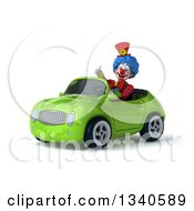 Clipart Of A 3d Colorful Clown Giving A Thumb Up And Driving A Green Convertible Car 2 Royalty Free Illustration