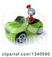 Clipart Of A 3d Colorful Clown Driving A Green Convertible Car 2 Royalty Free Illustration