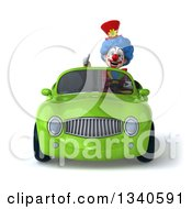 Clipart Of A 3d Colorful Clown Giving A Thumb Up And Driving A Green Convertible Car Royalty Free Illustration