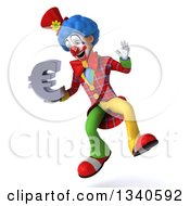 Clipart Of A 3d Colorful Clown Jumping And Holding A Euro Currency Symbol Royalty Free Illustration